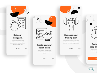 Fit app mobile onboarding home idea designer illustration andriod application white light minimal geometric graphic icons sport ios intrduction instruction onboarding mobile app