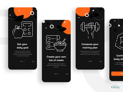 Fit mobile app onboarding animation button iphone ios apple diet geometric minimal black dark graphic design onboarding plan training sport fit mobile app