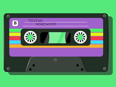 Audio cassette Flat art minimal icon flat vector animation illustrator illustration art illustration design