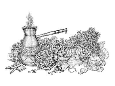 The Aroma Of Summer Morning textures tangerine coffee beans still life flowers sketch ink artwork art black and white coffee