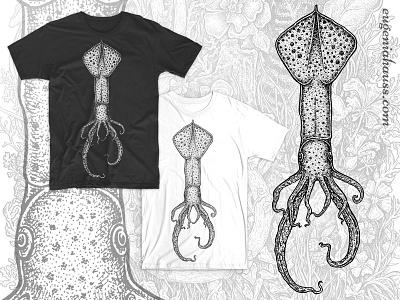 Squid  illustration drawing seafood sea animal t-shirt design artwork ink art apparel design squid