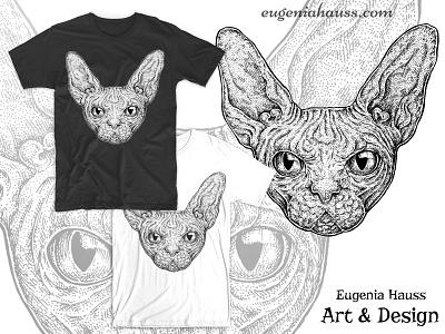 Sphinx Cat T-Shirt Design t-shirt design apparel design black and white sketch art ink drawing portrait pet animal cat sphinx