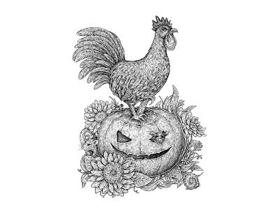 Halloween Rooster pumpkin artwork mouse cute holidays mice halloween illustration art rooster