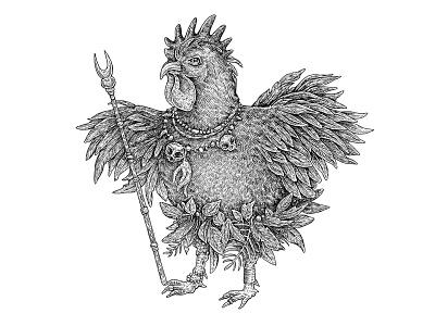 Tribal Shaman Rooster primitive tribe shaman skull design sketch ink illustration rooster art ethnic tribal