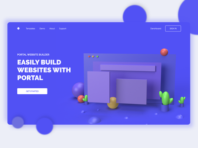 Landing page Website Builder 3D website builder 3d illustration pagebuilder ui ux web webdesign 3d modeling web builder user interface design interface design ui design xd design adobe dimension 3d dimension