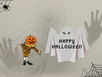 Happy Halloween type animation minimal vector website web illustrator graphic design design illustration