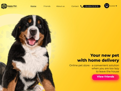 page Happy Pet app animation art icon vector illustrator page builder page design logo website website design webdesign design