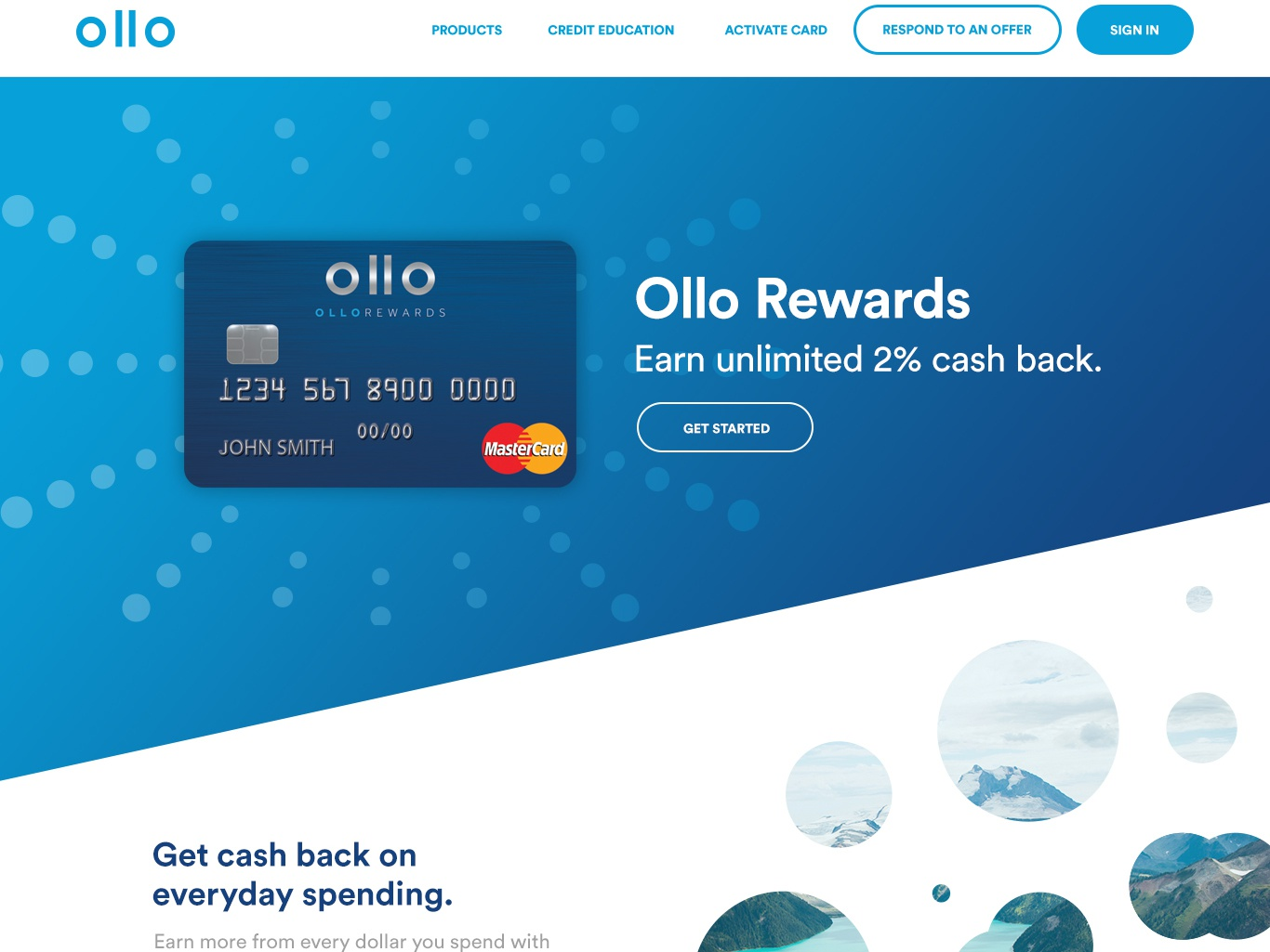 Ollocard.com Product Pages typography ollocard gradient rewards card clean design ux blue credit card