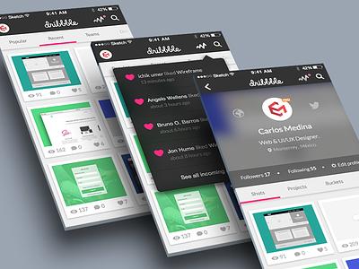 Dribbble App Concept ui clean app concept ios 3d brand dribbble sketch blur player profile