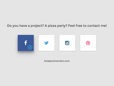 Contact section | Personal website web minimal ui icons html flat facebook email css clean buttons box