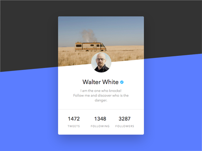Daily UI - Day 003: Twitter Profile Card dailyui bad breaking card profile twitter