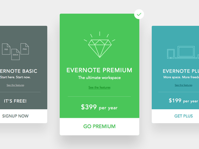 Daily UI - Day 004: Evernote Account Plans evernote ui green flat dailyui concept clean card