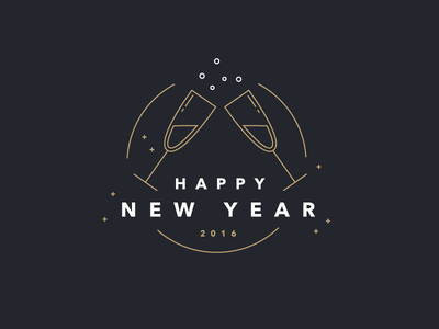 Happy New Year 2016 Players! gold sparkles illustration new year