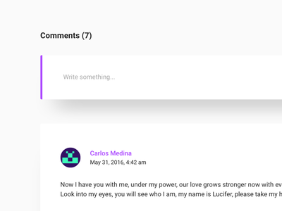Comments Section - Personal Blog shadow purple portfolio flat clean blog