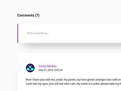Comments Section - Personal Blog shadow purple portfolio flat clean blog