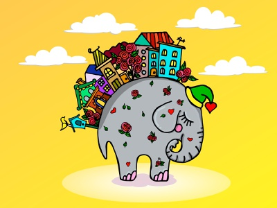 sleeping elephant elephant vector design mascot illustration cartoon character