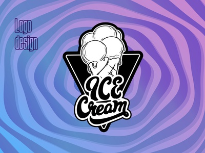 icecream icecream vector typography illustration branding lettering design logo