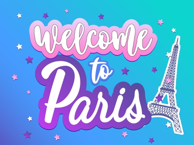 Welkome to Paris typography illustration design vector lettering invitation card welcome