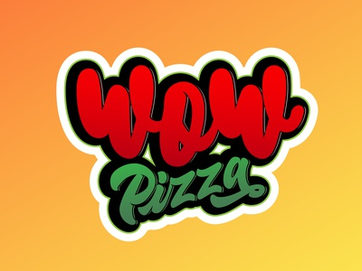 wow pizza vector inspiration typography lettering design illustration wow pizza