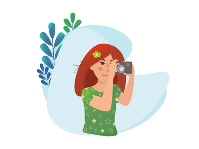 girl photographer photodrapher personage vector cartoon illustration design character