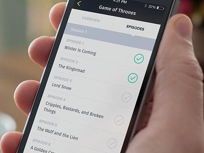 TVBento Episodes ios iphone mobile tvbento tv shows list episodes check tabs