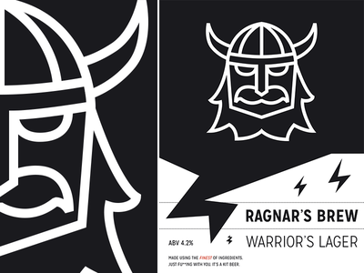 Warriors Lager label beer brewing viking illustration mission gothic