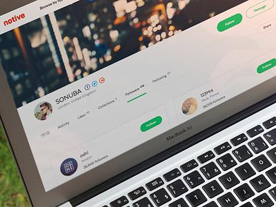 Notive - Profile Followers sketch web ui profile followers following friends notive