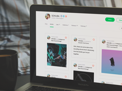 Notive - Profile activity web ui profile activity followers following likes collections cards icons grid