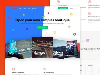 Notive - Open A Shop website startup hero samples loops music header nav ux ui web