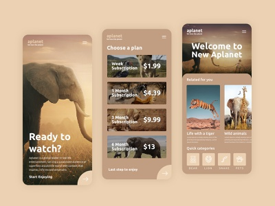 Aplanet App ui ux app mobile animation