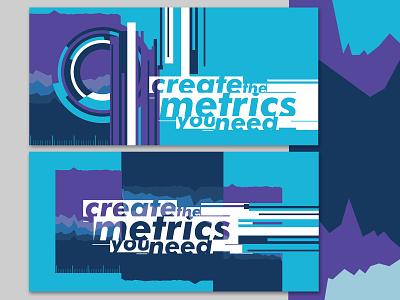 Metrics purple blue lines abstract typography social media vector illustration graphic design design