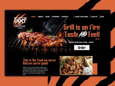 Tiger BBQ House bbq restaurants desktop website design logo web ui
