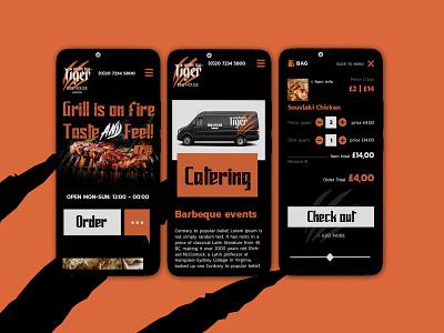 Mobile restaurant order app flat vector website ui orange restaurant mobile app ux web branding graphic design