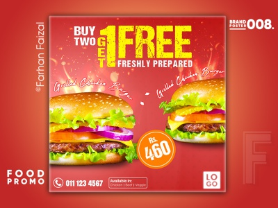 BUY 1 GET 1 FREE | Food Promo | Client Project advertising social media promo restaurant food creative commercial 4 burger design