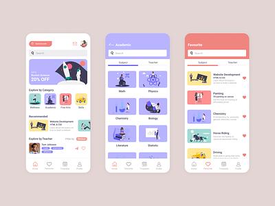 Back to School 2021 learning teaching mobile mockup ux ui app design