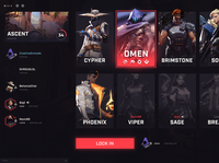 VALORANT Agent Selection Screen UI [For Fun] pc character ux esports valorant design video game ui gaming