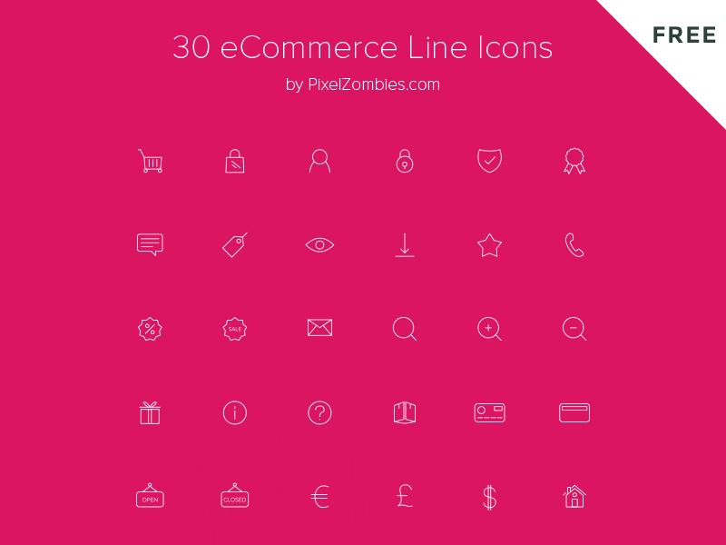 30 FREE eCommerce Line Icons pixelzombies wordpress store shop ecommerce simple monoline line icons free