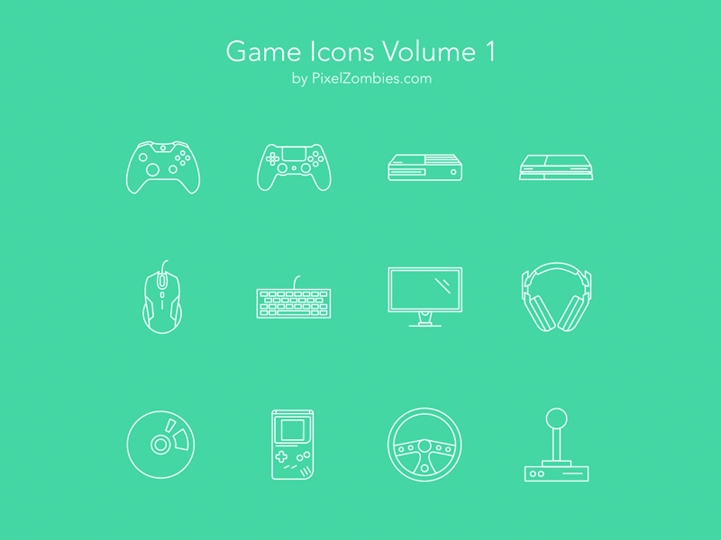Game Icons Download joystick headset mouse console controller esport game video zombies pixel download icons