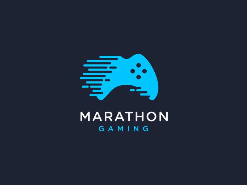 Marathon Gaming - Logo Design charity fast motion brand video game esports controller blue logo gaming marathon
