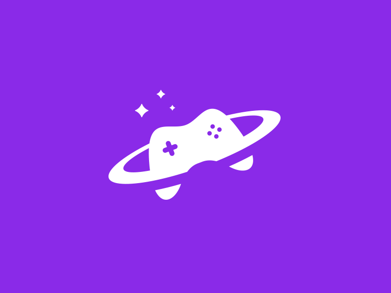 Spacey Controller video game minimal stars saturn purple logo gaming controller space