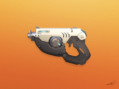Overwatch - Tracer shapes ai video games gaming orange pistol overwatch tracer