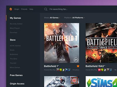 Origin - Desktop Client Redesign desktop app web app esports creative grenade dark ui ui desktop app video games gaming origin
