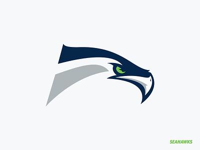 Seattle Seahawks minimal mascot nfl redesign logo hawk bird seahawks seattle