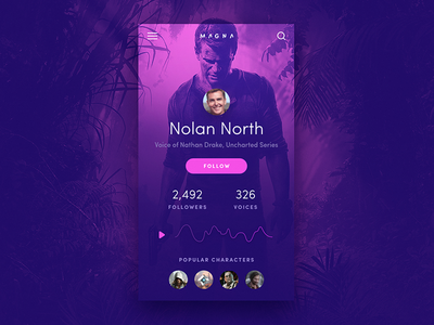 Daily UI 006 - User Profile pink purple actor voice gaming uncharted app ui arcade 006 daily ui