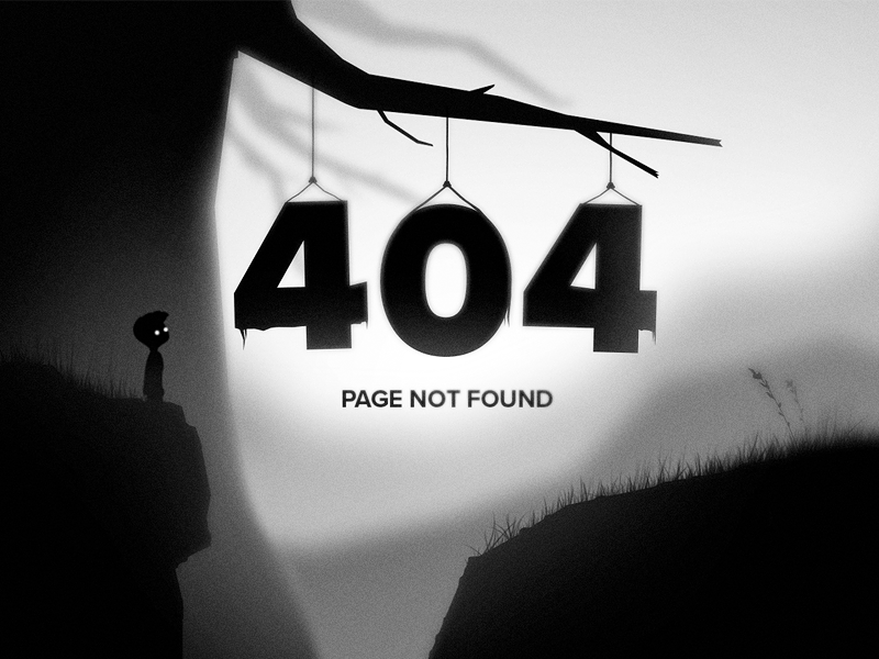Daily UI 008 - 404 Page ui arcade video game gaming black and white error 404 limbo 008 daily ui