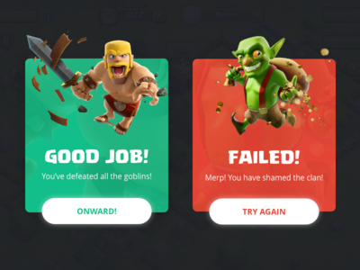 Daily UI 011 - Flash Message modal game gaming clash of clans app confirm flash message ui arcade 011 daily ui