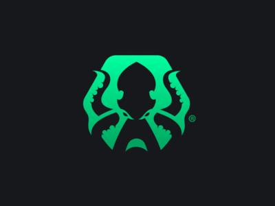 Kraken Logo hexagon squid octopus green logo kraken
