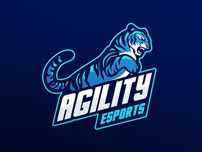 Tiger eSports Logo design video game games gaming electric blue brand mascot esports logo tiger