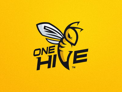 One Hive - Logo Design sport gaming esports bug wings design hive logo mascot wasp hornet bee