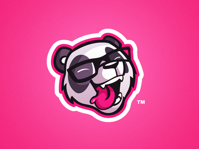The Unsteady - Panda Mascot Logo laugh laughing glasses pink brand personal youtube esports gaming logo mascot panda